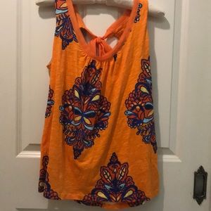 Anthropology orange and blue tank with tie neck